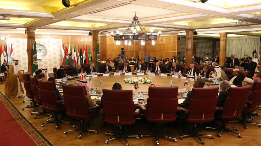 Representatives of the League of Arab states attend an emergency meeting at the Arab League headquarters, to discuss Turkey's offensive on Syria, Cairo, Egypt, Oct. 12, 2019.