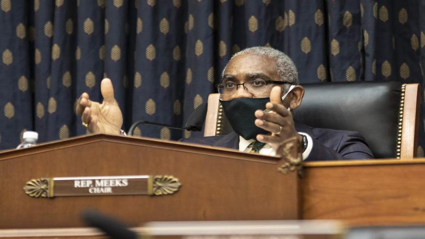 Representative Gregory Meeks, (D-NY), and chairman of the House Foreign Affairs Committee, speaks during a hearing on Capitol Hill, Washington, March 10, 2021.