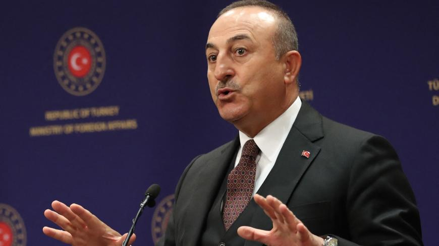 Turkish Foreign Minister Mevlut Cavusoglu gives a press conference following a meeting with his Slovakian counterpart in Ankara, on March 16, 2021.