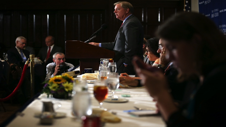 Republican Presidential hopeful and US Senator Lindsey Graham (R-SC) addresses a Newsmaker Luncheon at the National Press Club on Sept. 8, 2015, in Washington, DC. Senator Graham spoke on the Iran nuclear agreement.