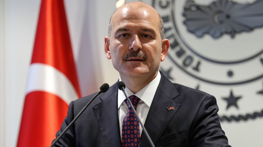 Turkish Interior Minister Suleyman Soylu delivers a speech during a press conference in Ankara April 22, 2019.