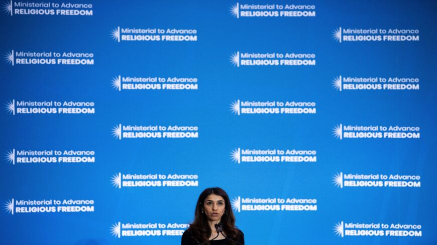 Nadia Murad, an Iraq Yazidi once held captive by the Islamic State, speaks during a religious freedom summit at the US Department of State on July 16, 2019, in Washington, DC.