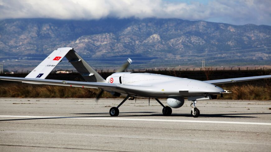 The Turkish-made Bayraktar TB2 drone is pictured on Dec. 16, 2019, at the Gecitkale military air base near Famagusta in the self-proclaimed Turkish Republic of Northern Cyprus.