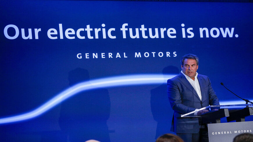 President of General Motors Mark Reuss announces that GMs Detroit-Hamtramck Assembly plant will build the all-electric Cruise Origin self-driving shuttle in Hamtramck, Michigan, Jan. 27, 2020.