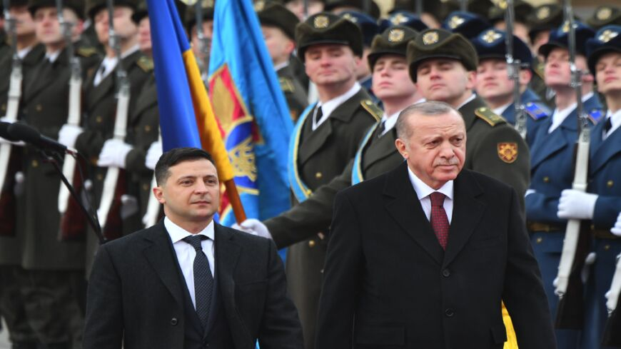 Ukrainian President Volodymyr Zelensky and his Turkish counterpart, Recep Tayyip Erdogan, review an honor guard during a welcoming ceremony prior to their talks in Kyiv on Feb. 3, 2020.