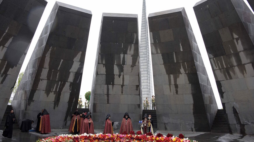 Catholicos Garegin II, the head of the Armenian Apostolic Church, attends a ceremony commemorating the 105th anniversary of the massacre of 1.5 million of Armenians by Ottoman forces in 1915, at the Tsitsernakaberd memorial in Yerevan on April 24, 2020.