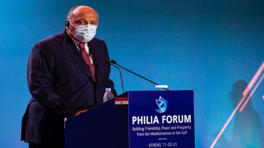 Egyptian Foreign Minister Sameh Shoukry takes part in a press conference on Feb. 11, 2021, in Athens, during the Greek-hosted Philia Forum (Friendship Forum), with representatives from Bahrain, Cyprus, Egypt, Jordan, Saudi Arabia, UAE, Iraq, and France.
