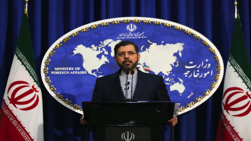 "Iranian Foreign Ministry spokesman Saeed Khatibzadeh gestures during a press conference in Tehran on Feb. 22, 2021. Iran hailed as a ""significant achievement"" a temporary agreement Tehran reached with the head of the UN nuclear watchdog on site inspections. That deal effectively bought time as the United States, European powers and Tehran try to salvage the 2015 nuclear agreement that has been on the brink of collapse since Donald Trump withdrew from it."