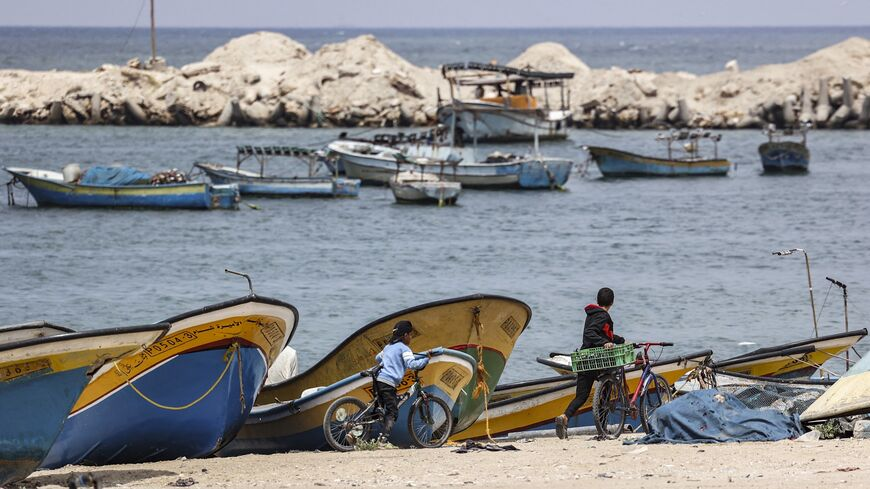 Shored Gaza fishing boats