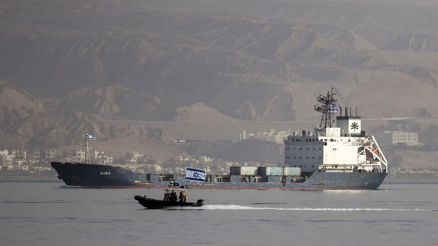 Klos-C is escorted into the southern Israeli port of Eilat