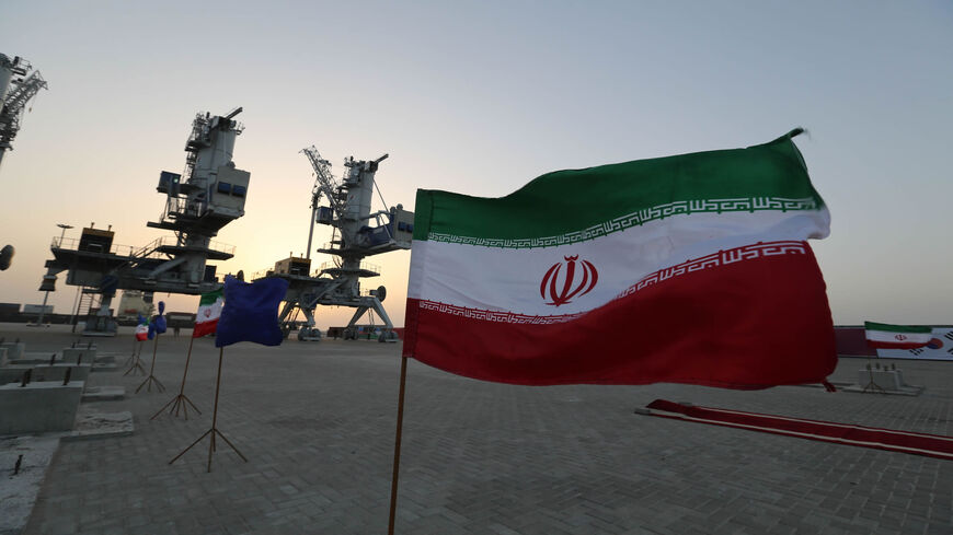 Iranian flags flutter during an inauguration ceremony for new equipment and infrastructure at the Shahid Beheshti port, in the southeastern coastal city of Chabahar, on the Gulf of Oman, Feb. 25, 2019.