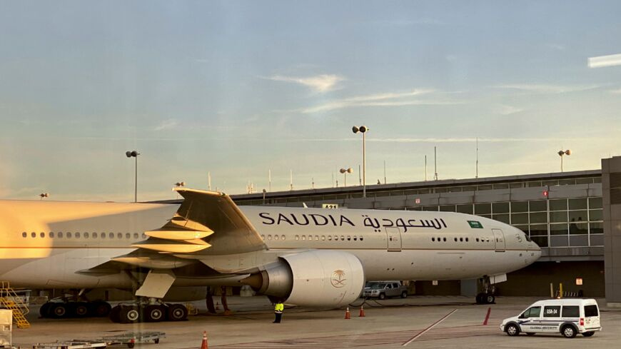 A Saudi Boeing jet is seen at the gate at Washington Dulles International Airport (IAD) on Nov. 19, 2020.