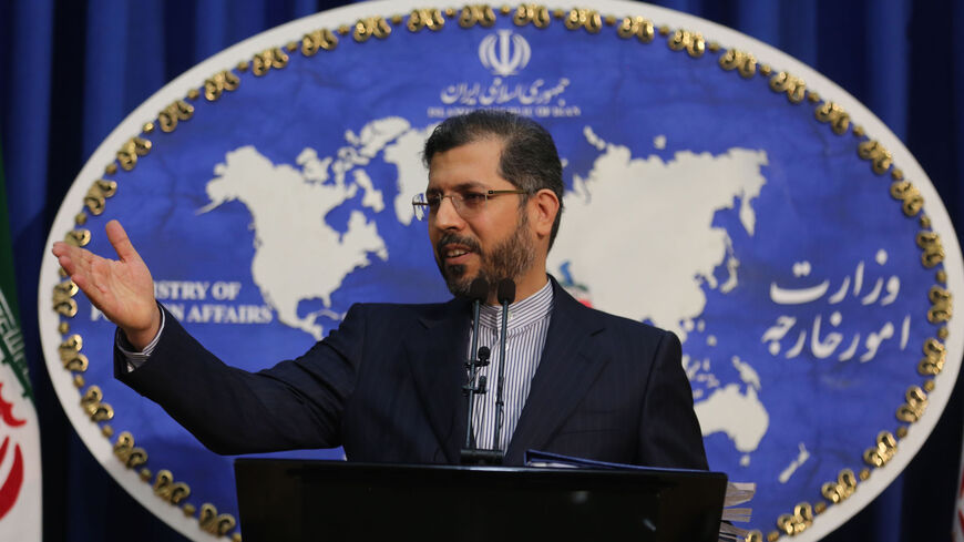 Iranian foreign ministry spokesman Saied Khatibzadeh speaks during a press conference in Tehran on Feb. 22, 2021.