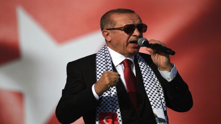 Turkish President Recep Tayyip Erdogan addresses a protest rally in Istanbul on May 18, 2018, against the killings of Palestinian protesters on the Gaza-Israel border and the US Embassy move to Jerusalem.