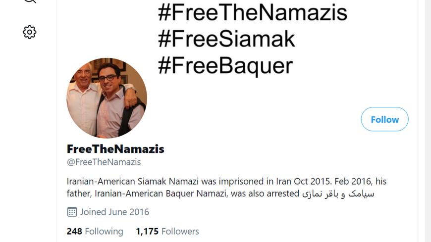 FreeTheNamazis Twitter webpage