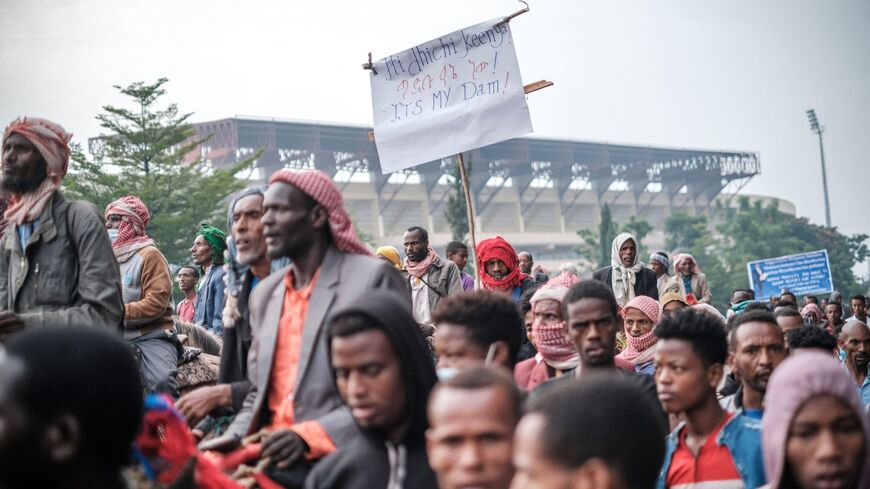 """""""It's my dam"""" sign at Ethiopia campaign rally"""