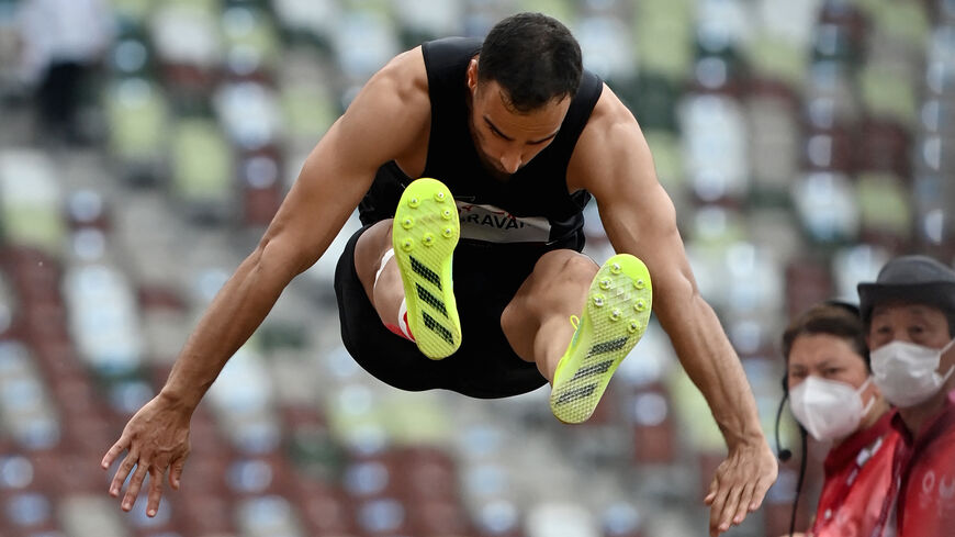 Iran's Amir Khosravani competes in the men's long jump (T12) final during the Tokyo 2020 Paralympic Games at the National Stadium in Tokyo on Aug. 30, 2021.