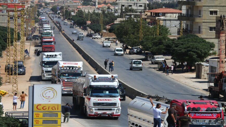 Tankers carrying Iranian fuel arrive from Syria at al-Ain in Hermel in east Lebanon's Bekaa Valley on Sept. 16, 2021.