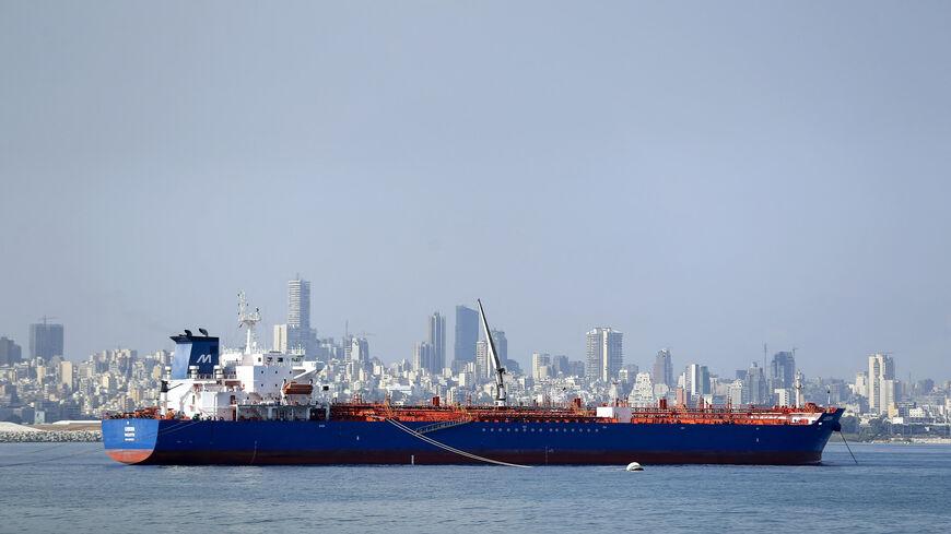 The Libera tanker is moored off the port in Beirut, Lebanon, Sept. 17, 2021.