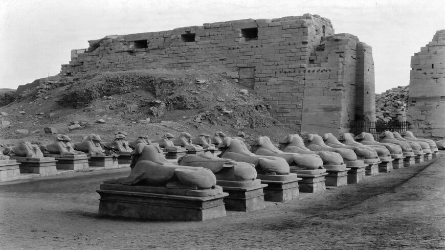 A view of Avenue of the Sphinxes at the entrance of the            Temple of Karnak, near Luxor, Egypt.
