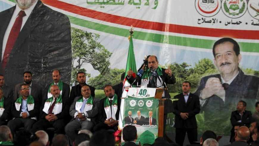 Aboudjera Soltani, the leader of the Islamist party Movement for a Society of Peace (MSP) which is part of the , Algerie Verte (Green Algeria) alliance, gives a speech during his final parliamentary election campaign rally in Setif, about 300 km (186 miles) east of Algiers, May 5, 2012. Algerie Verte is an alliance of three Islamist parties, the Islamist party Movement for a Society of Peace (MSP), El-Islah and Ennahda movements. Algeria votes in a parliamentary election on May 10 that will test the governm