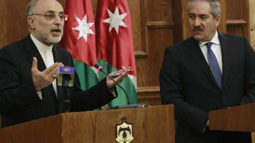 Iran's Foreign Minister Ali Akbar Salehi speaks during his joint news conference with his Jordanian counterpart Nasser Judeh in Amman May 7, 2013. REUTERS/Muhammad Hamed (JORDAN - Tags: POLITICS) - RTXZDGZ