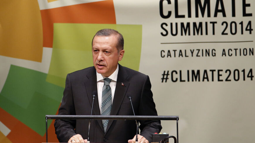 Turkey's President Tayyip Erdogan speaks during the Climate Summit at the U.N. headquarters in New York September 23, 2014. REUTERS/Mike Segar (UNITED STATES - Tags: POLITICS ENVIRONMENT) - RTR47E2N