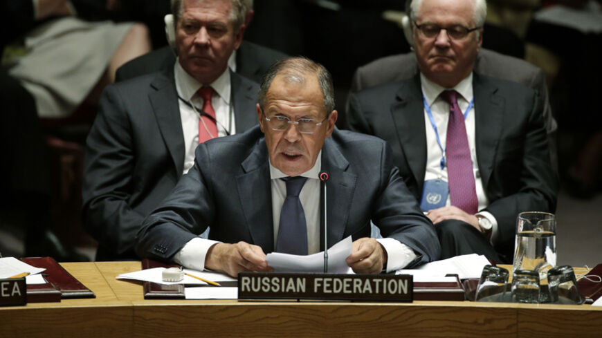 Russia's Foreign Minister Sergey Lavrov addresses a meeting of the United Nations Security Council  at the 69th U.N. General Assembly in New York, September 24, 2014. REUTERS/Brendan McDermid (UNITED STATES  - Tags: POLITICS)   - RTR47KZB
