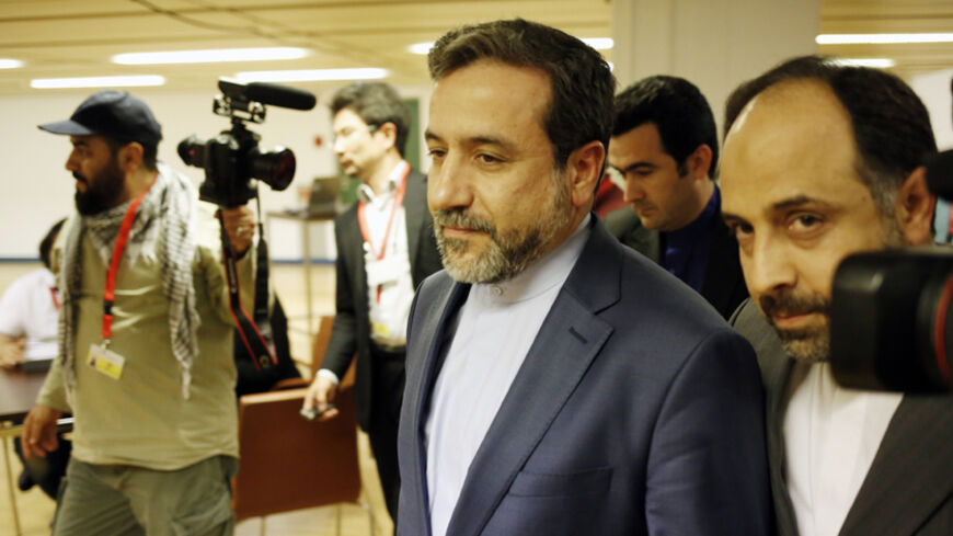 Abbas Araghchi (C),  Iran's chief nuclear negotiator arrives at the Austria Center Vienna after another rounds of talks between the EU 5+1 on May 16, 2014 in Vienna. A fourth round of talks between Iran and six world powers aimed at defusing the face-off over Tehran's nuclear programme ended after the US had voiced concern about lack of progress.   AFP PHOTO/DIETER NAGL        (Photo credit should read DIETER NAGL/AFP/Getty Images)
