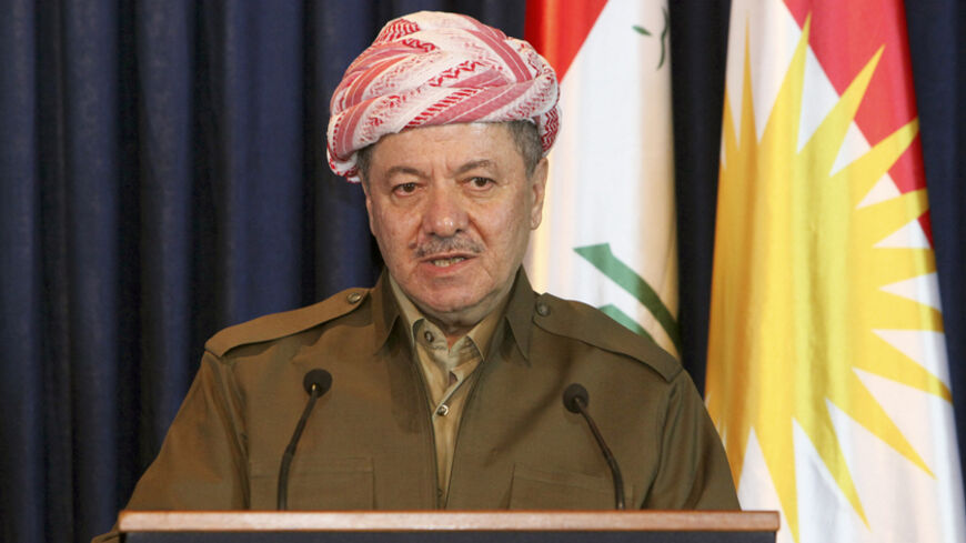 President of Iraq's autonomous Kurdistan region Massoud Barzani speaks during a joint news conference with French President Francois Hollande in Arbil September 12, 2014.  REUTERS/Azad Lashkari  (IRAQ - Tags: POLITICS ) - RTR4615L