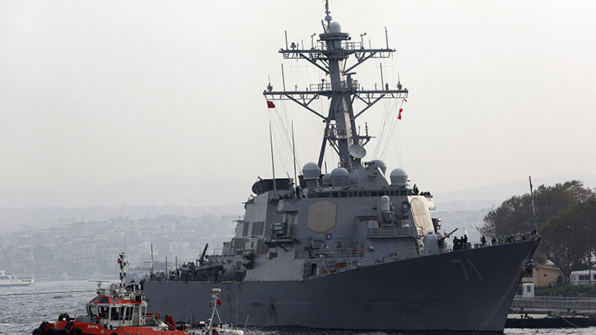"U.S. Navy guided-missile destroyer USS Ross prepares to leave from the port in Istanbul November 13, 2014. A group of Turkish ultra-nationalists attacked three U.S. sailors on a crowded street in Istanbul on Wednesday, shouting ""Yankee go home"" and trying to pull hoods over their heads in an assault condemned by the United States. The attackers' actions were an apparent reference to an incident in Iraq in July 2003, when U.S. forces detained a Turkish special forces unit, leading its members away for interr"