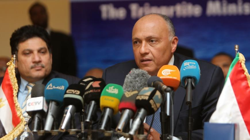 Egypt's foreign minister Sameh Shoukri speaks during a press conference with his Sudanese and Ethiopian counterparts in the early hours of March 6, 2015, on the sidelines of meetings in the Sudanese capital Khartoum, to announce they had reached an agreement on the sharing of Nile waters and Ethiopia's Grand Renaissance Dam. The principles of the use of the eastern Nile Basin and the Ethiopian Renaissance Dam will be submitted to the heads of the three states for approval. AFP PHOTO / ASHRAF SHAZLY        (