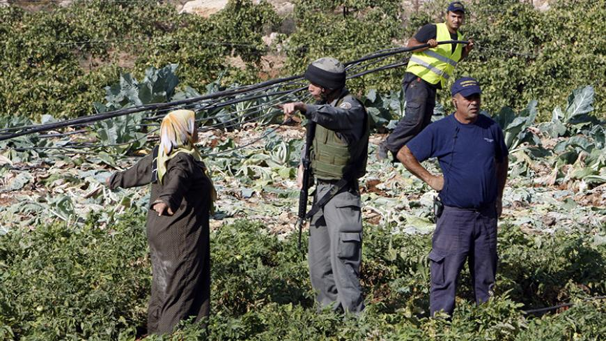 An Israeli border police officer gestures towards a Palestinian farmer during the removal of water pipes from their farm near the West Bank city of Hebron October 29, 2009. A confrontation erupted during the removal of the pipes  by Israeli authorities that illegally divert water, an Israeli border police spokesman said on Thursday. REUTERS/Nayef Hashlamoun (WEST BANK CONFLICT POLITICS) - RTXQ4KQ