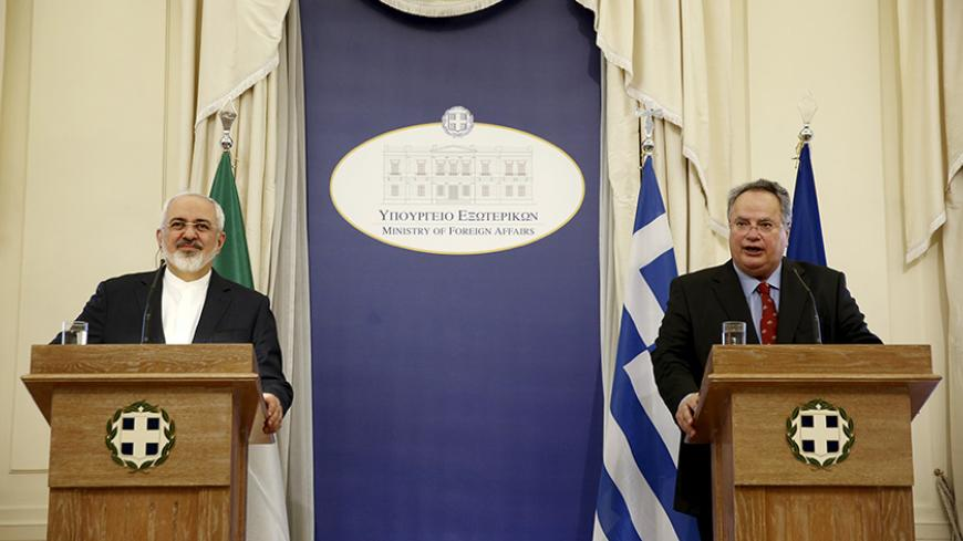 "Iranian Foreign Minister Mohammad Javad Zarif (L) and his Greek counterpart Nikos Kotzias attend a joint news conference in Athens May 28, 2015. Zarif said on Thursday he hoped Tehran and world powers would reach a final nuclear deal ""within a reasonable period of time"" but this would be hard if the other side stuck to what he called excessive demands. REUTERS/Alkis Konstantinidis - RTX1EXFK"