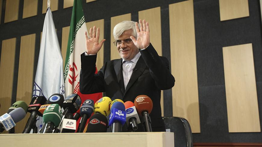 File photo taken May 28, 2013 shows former Iranian Vice President and former presidential candidate Mohammad Reza Aref, who has withdrawn from the presidential race. The Iranian presidential election will be held June 14. REUTERS/Fars News (POLITICS ELECTIONS PROFILE) ATTENTION EDITORS - THIS IMAGE WAS PROVIDED BY A THIRD PARTY. FOR EDITORIAL USE ONLY. NOT FOR SALE FOR MARKETING OR ADVERTISING CAMPAIGNS. THIS PICTURE IS DISTRIBUTED EXACTLY AS RECEIVED BY REUTERS, AS A SERVICE TO CLIENTS - RTX10KSJ