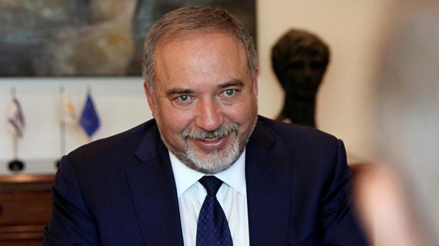 Israeli Defense Minister Avigdor Lieberman is seen during a meeting with the Cypriot Foreign Minister Ioannis Kasoulides at the Ministry of Foreign Affairs in Nicosia, Cyprus September 16, 2016.REUTERS/Yiannis Kourtoglou - RTSO008