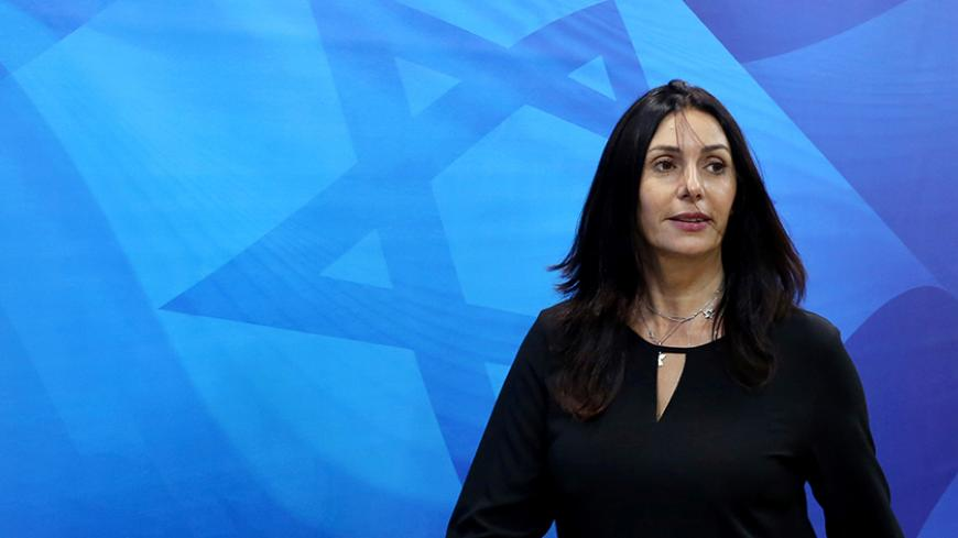 Israeli Culture Minister Miri Regev arrives for the weekly cabinet meeting at the Prime Minister's office in Jerusalem October 9, 2016. REUTERS/Gali Tibbon/Pool - RTSRFK0