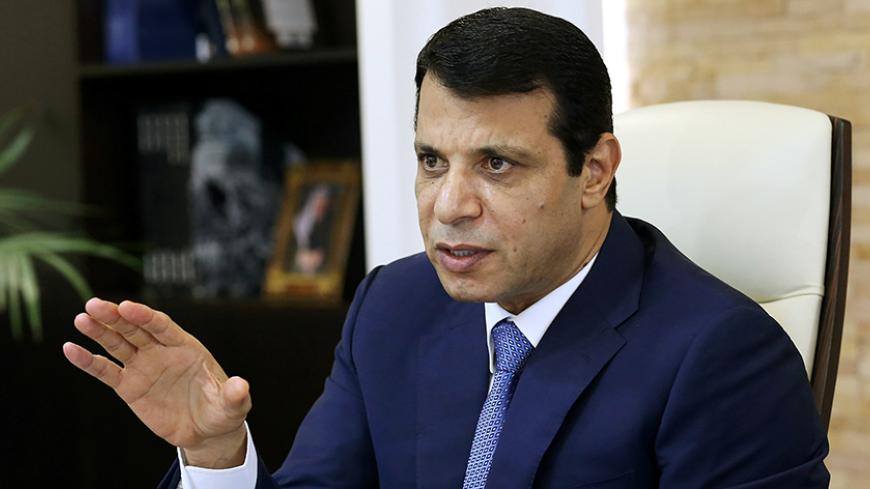 Mohammed Dahlan, a former Fatah security chief, gestures in his office in Abu Dhabi, United Arab Emirates October 18, 2016. Picture taken October 18, 2016. REUTERS/Stringer  - RTX2QI8I