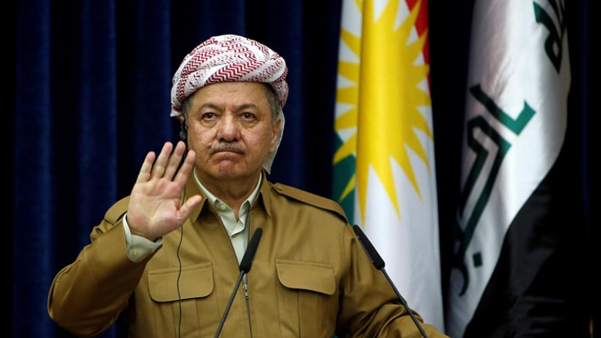 Iraq's Kurdistan region's President Massoud Barzani gestures during a joint news conference with German Foreign Minister Sigmar Gabriel (not pictured) in Erbil, Iraq April 20, 2017. REUTERS/Azad Lashkari - RTS1348S