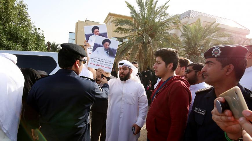 Kuwaiti Shiites gather before the Iranian embassy in Kuwait City on March 7, 2018 to demonstrate calling for the release of Iranian Shiite cleric Hossein al-Shirazi, who was arrested in the Iranian Shiite holy city of Qom a month prior. / AFP PHOTO / YASSER AL-ZAYYAT        (Photo credit should read YASSER AL-ZAYYAT/AFP/Getty Images)