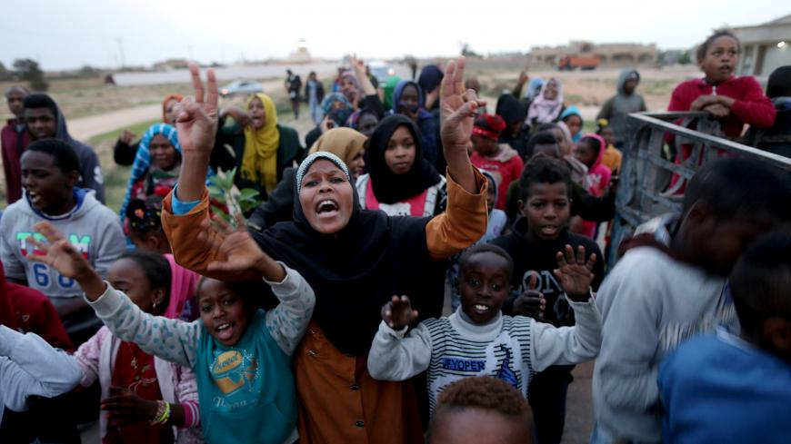 Libyan displaced from the town of Tawergha protest in their camp in Benghazi, Libya February 4, 2018. Picture taken February 4, 2017. REUTERS/Esam Omran Al-Fetori - RC126EB72FD0