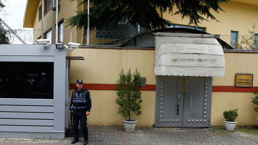 A Turkish police officer stands guard outside the Saudi Arabia's consulate in Istanbul, Turkey October 9, 2018. REUTERS/Osman Orsal - RC1735552880