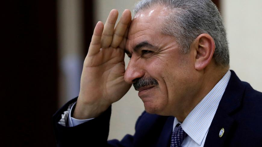 Senior Fatah official Mohammad Shtayyeh gestures during a Palestinian leadership meeting in Ramallah, in the Israeli-occupied West Bank February 20, 2019. Picture taken February 20, 2019. REUTERS/Mohamad Torokman - RC1E0018C6D0