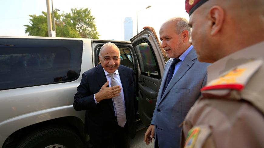 Iraq's Prime Minister Adel Abdul Mahdi arrives for the opening of Baghdad International Fair in Baghdad, Iraq, November 10, 2018. REUTERS/Thaier al-Sudani - RC1A578A6EC0