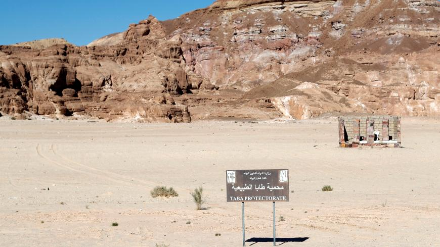 A sign of Taba Protectorate is seen at the new road to Saint Catherine, in the Sinai Peninsula, south of Cairo, Egypt December 11, 2018. Picture taken December 11, 2018. REUTERS/Amr Abdallah Dalsh - RC1D87D720C0
