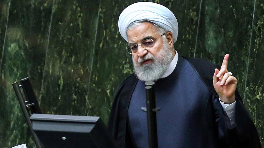 "TOPSHOT - Iran's President Hassan Rouhani speaks at parliament in the capital Tehran on September 3, 2019. - In an address to parliament, Rouhani ruled out holding any bilateral talks with the United States, saying the Islamic republic is opposed to such negotiations in principle. He also said Iran was ready to further reduce its commitments to a landmark 2015 nuclear deal ""in the coming days"" if current negotiations yield no results by September 5. (Photo by ATTA KENARE / AFP) (Photo by ATTA KENARE/AFP via"