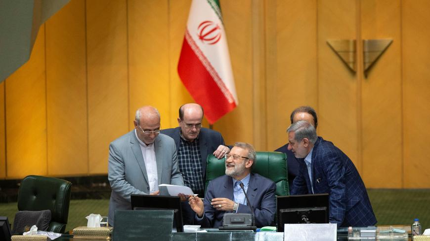 Speaker Ali Larijani attends a session of parliament in Tehran, Iran July 16, 2019. Nazanin Tabatabaee/WANA (West Asia News Agency) via REUTERS. ATTENTION EDITORS - THIS IMAGE HAS BEEN SUPPLIED BY A THIRD PARTY. - RC17FA4094A0