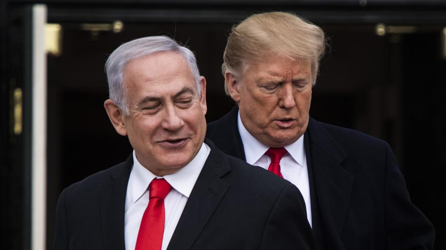 WASHINGTON, DC - MARCH 25 : President Donald J. Trump welcomes Prime Minister of Israel Benjamin Netanyahu to the White House on Monday, March 25, 2019 in Washington, DC. (Photo by Jabin Botsford/The Washington Post via Getty Images)