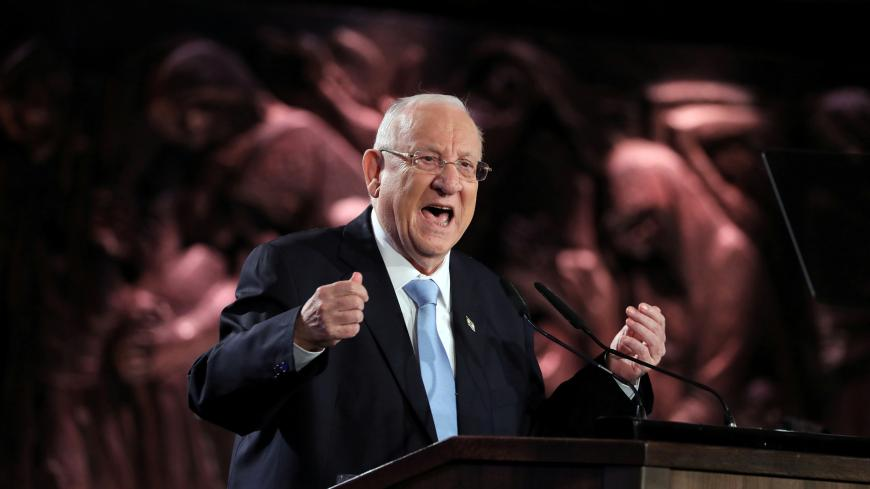 Israeli President Reuven Rivlin speaks at the World Holocaust Forum marking 75 years since the liberation of the Nazi extermination camp Auschwitz, at Yad Vashem Holocaust memorial centre in Jerusalem January 23, 2020. Abir Sultan/Pool via REUTERS - RC2PLE9LMZ3W