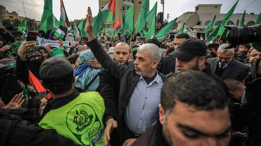 GAZA CITY, GAZA - DECEMBER 16: Yahya Sinwar, the leader of Hamas in Gaza, attends the event marking the 31st anniversary of the establishment of Hamas at Al Katiba Square in Gaza City, Gaza on December 16, 2018. (Photo by Ali Jadallah/Anadolu Agency/Getty Images)